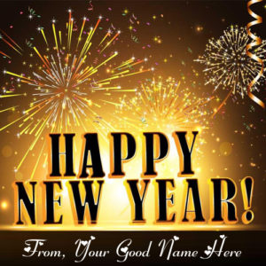 Amazing Firework New Year Eve Greeting Card Name Write Image
