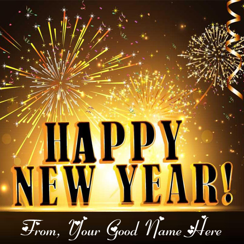Amazing Firework New Year Eve Greeting Card Name Write Image
