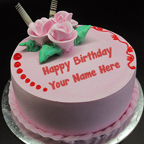 Unique Pink Flowers Birthday Cake Name Write Image Editing My Name Pix Cards
