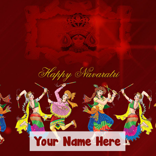 Write Name Happy Navratri 2018 Wishes Greeting Card Image