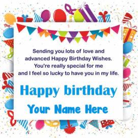 Advance Birthday Wishes Greeting Card Send Name Write