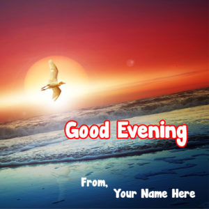 Beautiful Sunset Nature Evening Greeting Card Name Wishes