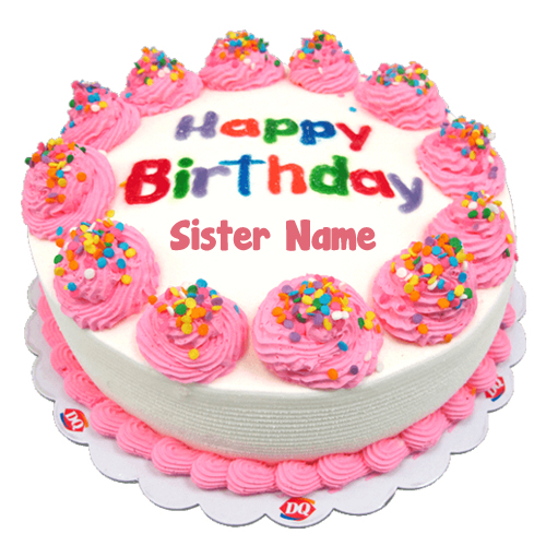 Birthday Sweet Cake Sister Name Write Status Photo Free