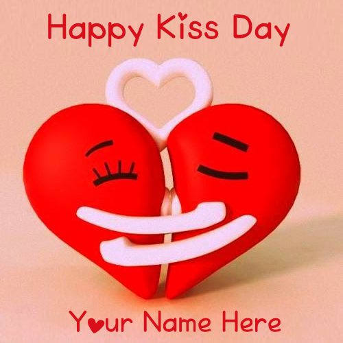 Cute Happy Kiss Day Name Write Photo Send Online Create