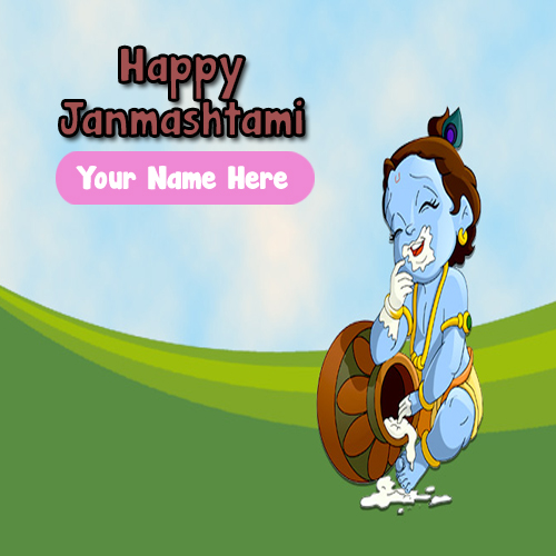 Write Name Card Janmashtami Wishes Image